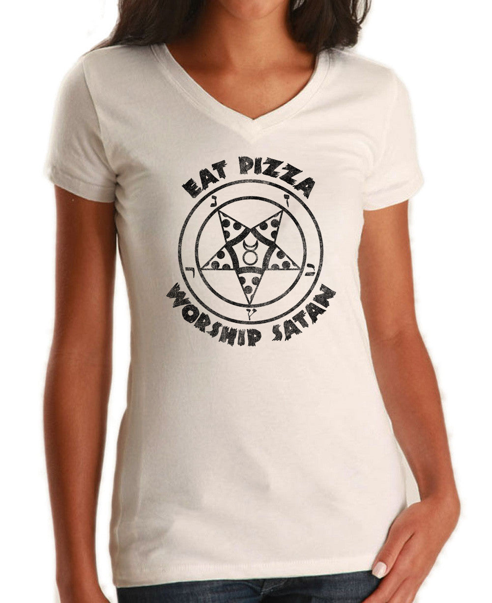 Women's Eat Pizza Worship Satan Vneck T-Shirt