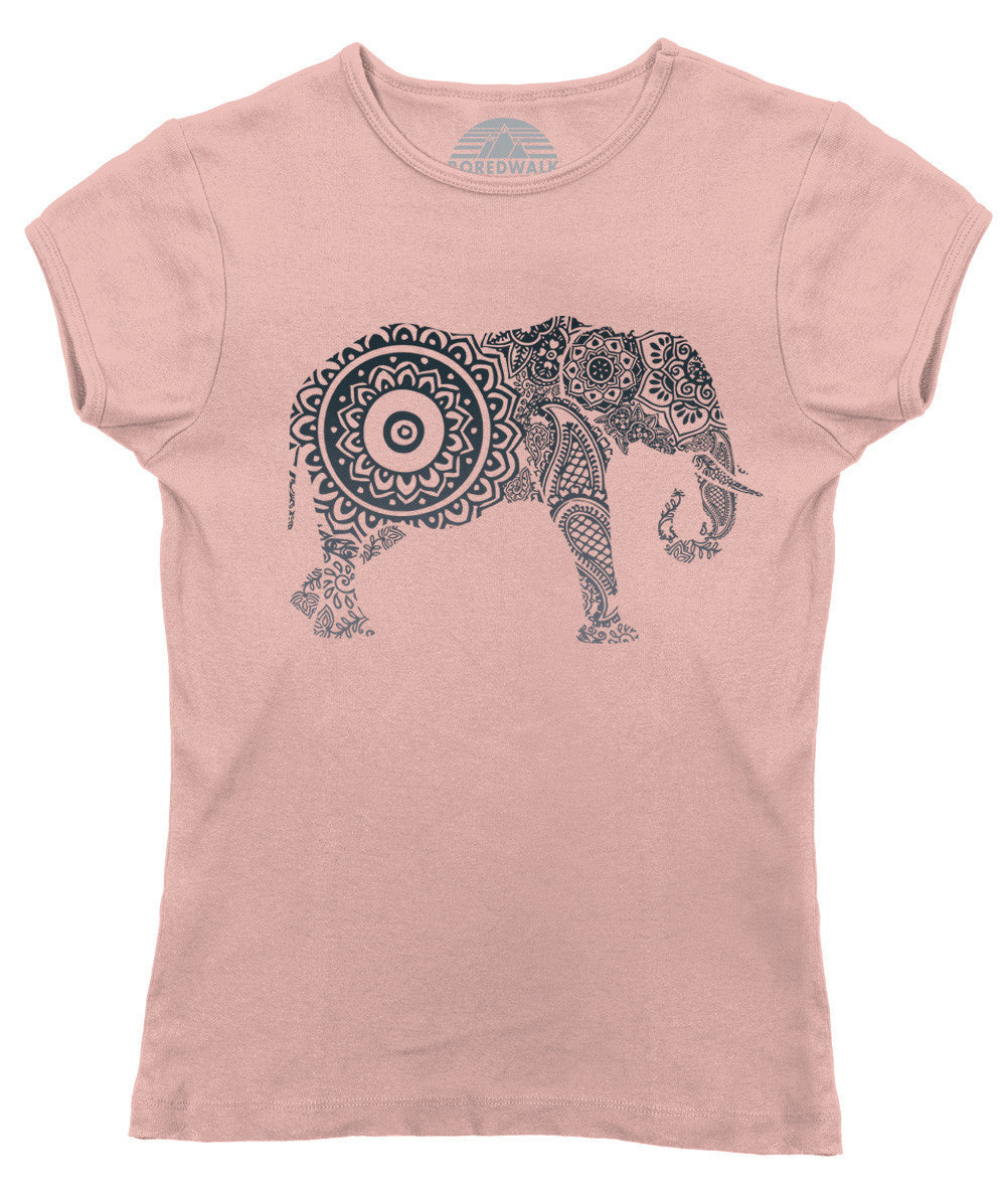 Women's Mandala Elephant T-Shirt New Age Yoga