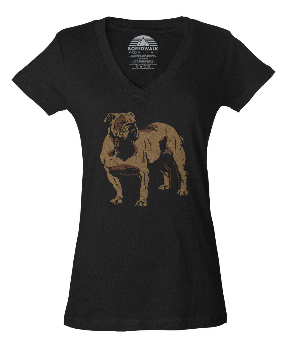 Women's English Bulldog Vneck T-Shirt