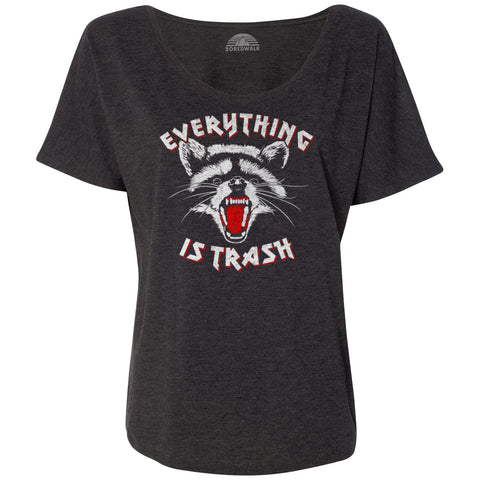 Women's Everything is Trash Raccoon Scoop Neck T-Shirt