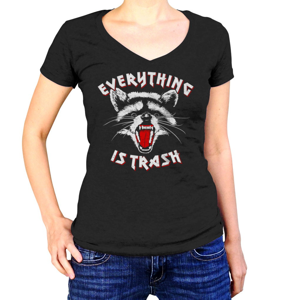 Women's Everything is Trash Raccoon Vneck T-Shirt