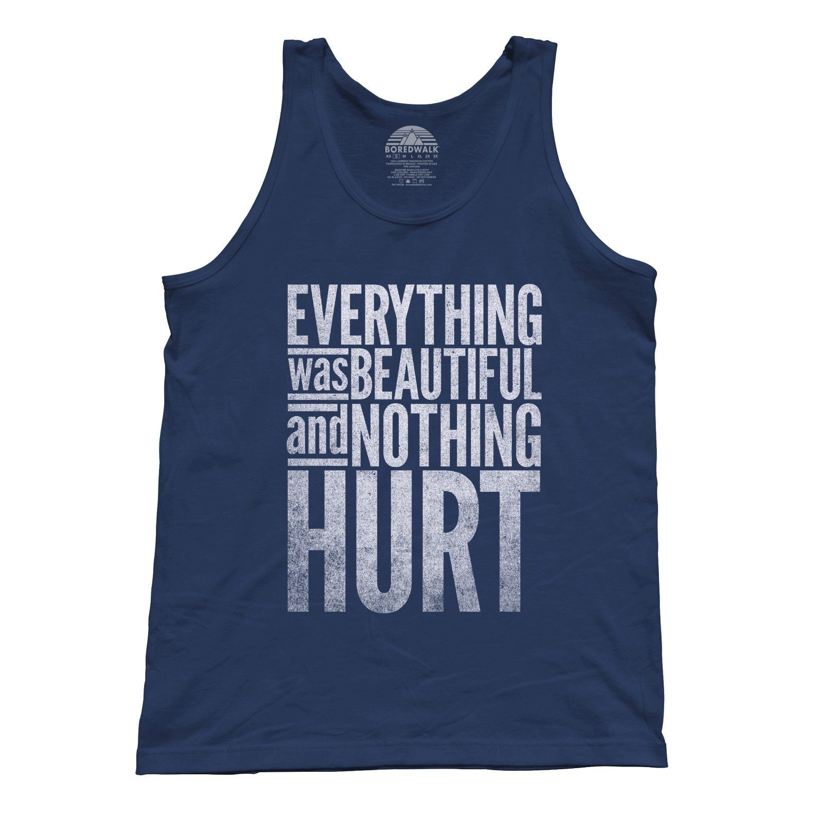 Unisex Everything Was Beautiful and Nothing Hurt Tank Top - Kurt Vonnegut Quote