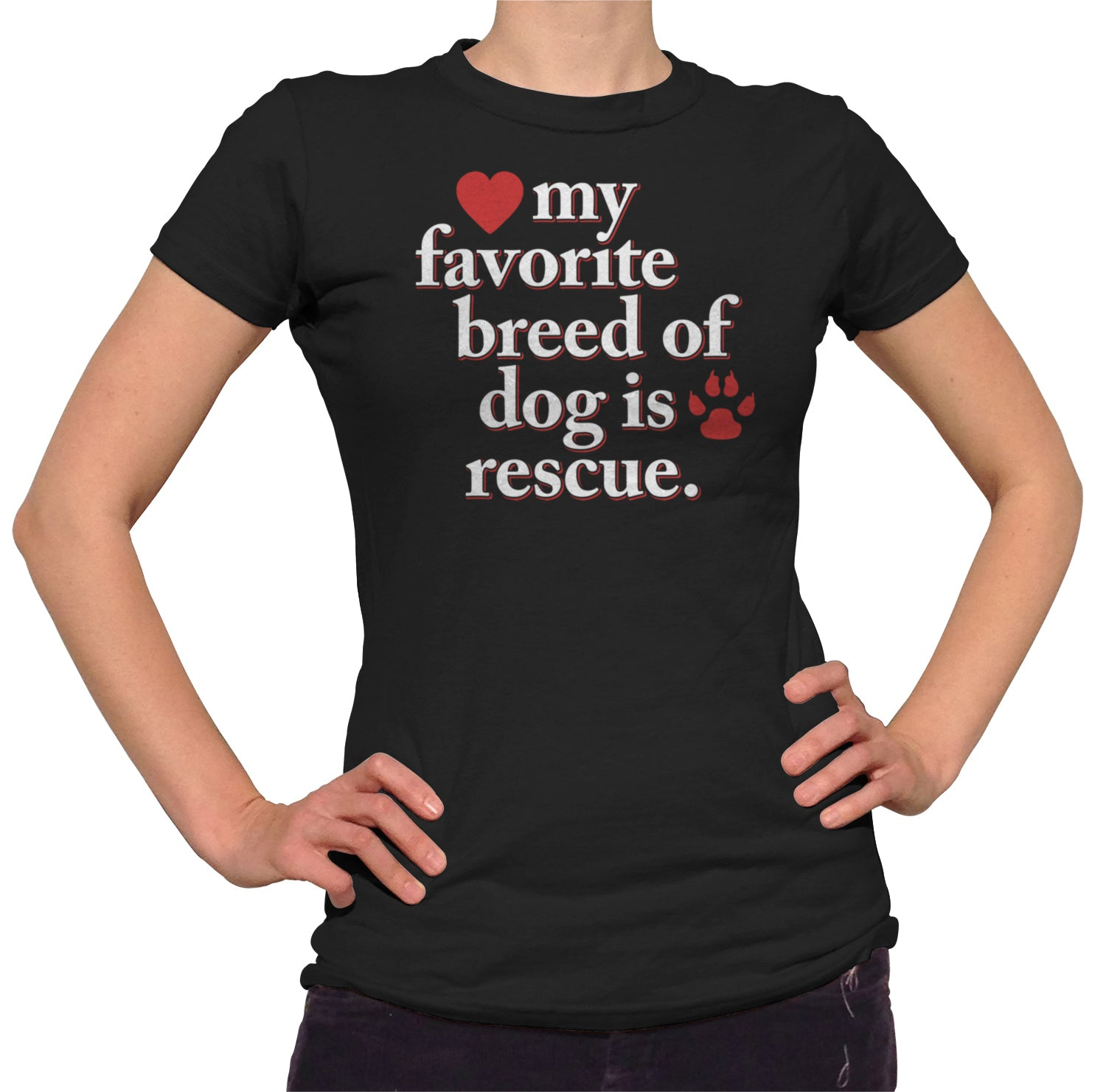 Women's My Favorite Breed Of Dog Is Rescue T-Shirt