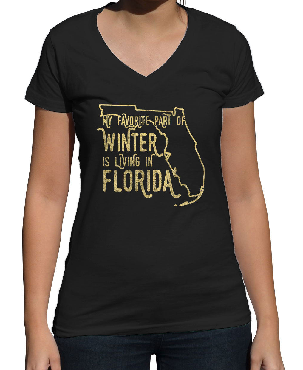 Women's My Favorite Part of Winter is Living in Florida Vneck T-Shirt
