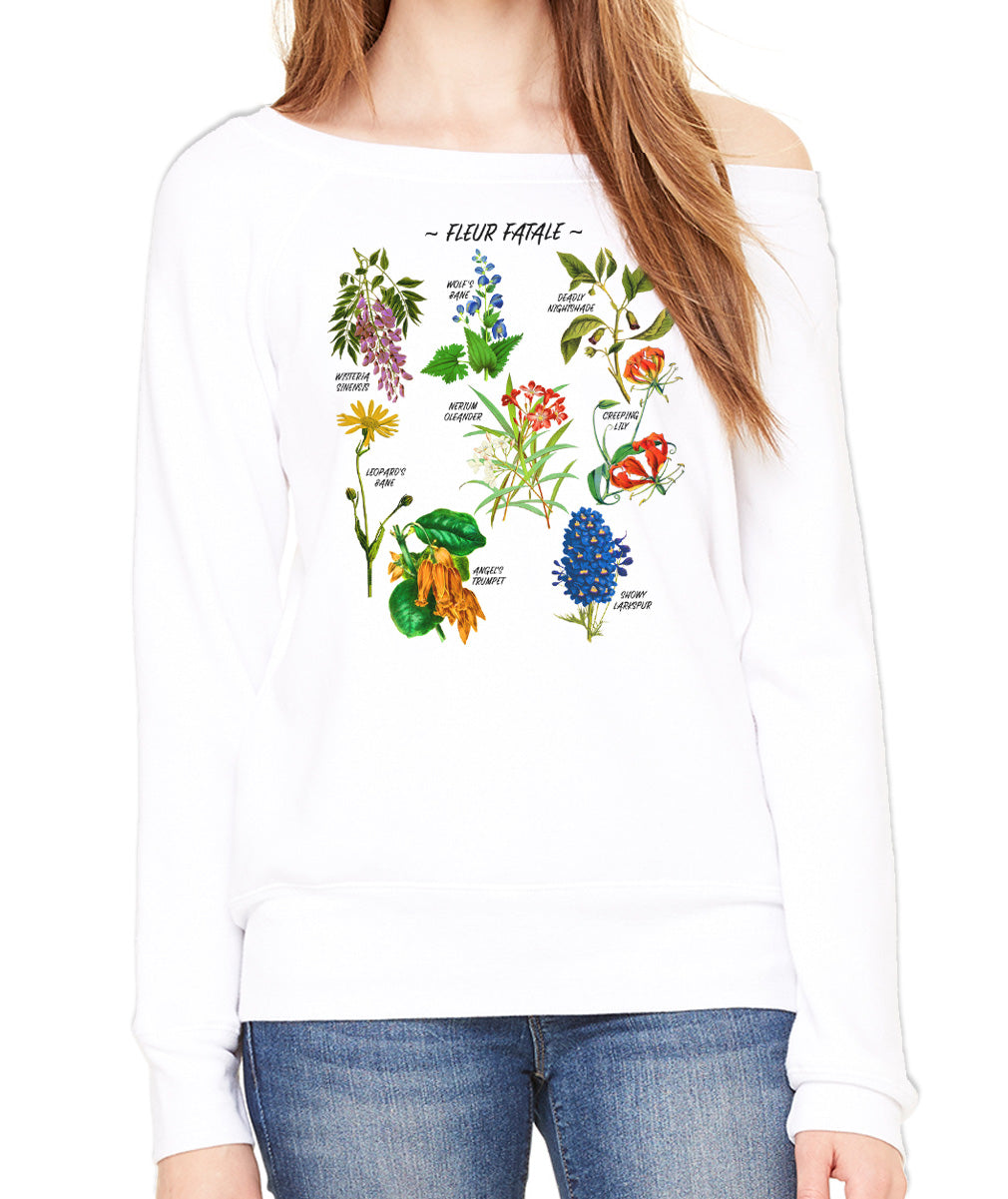 Women's Fleur Fatale Toxic Botanical Chart Scoop Neck Fleece
