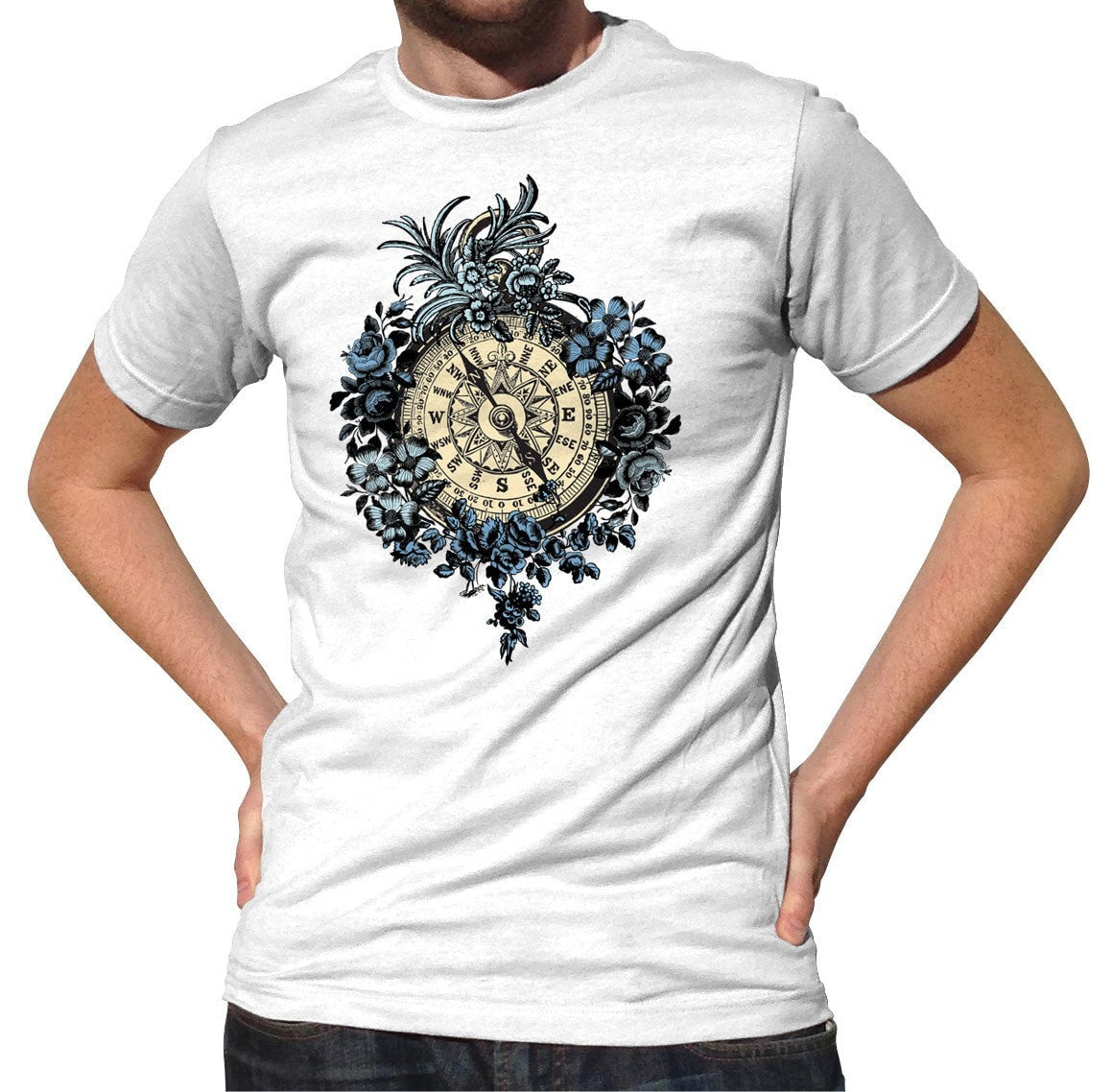 Men's Vintage Floral Compass T-Shirt Feminine Tattoo Inspired