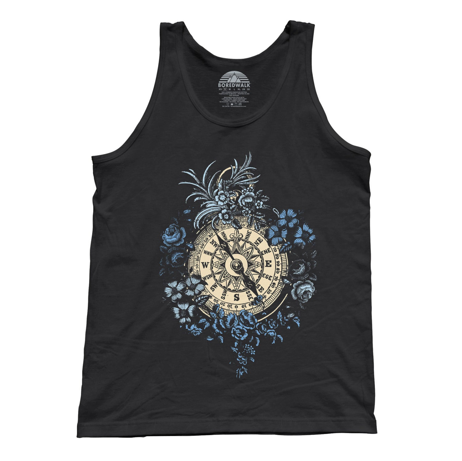 Unisex Vintage Floral Compass Tank Top Feminine Tattoo Inspired
