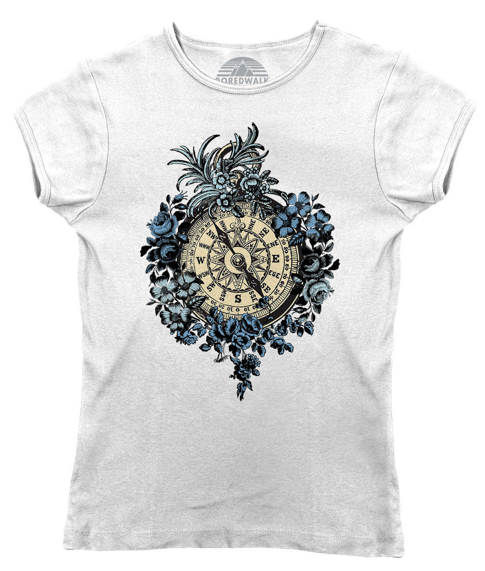 Women's Vintage Floral Compass T-Shirt Feminine Tattoo Inspired