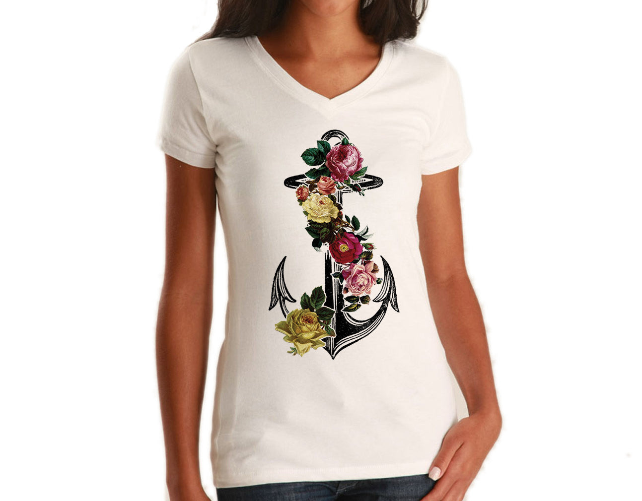Women's Floral Anchor Vneck T-Shirt Tattoo Vintage Nautical Feminine T-Shirt
