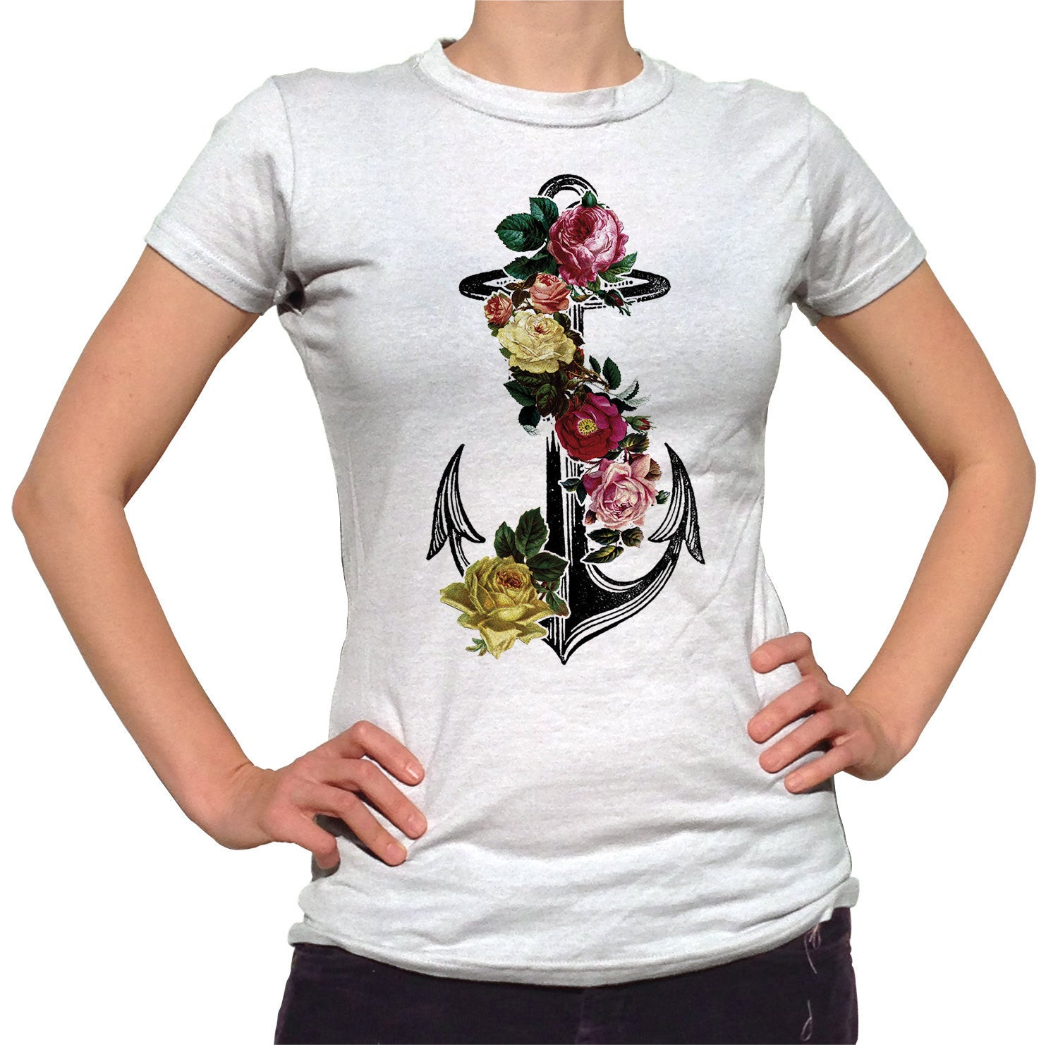 Women's Floral Anchor T-Shirt Tattoo Vintage Nautical Feminine T-Shirt
