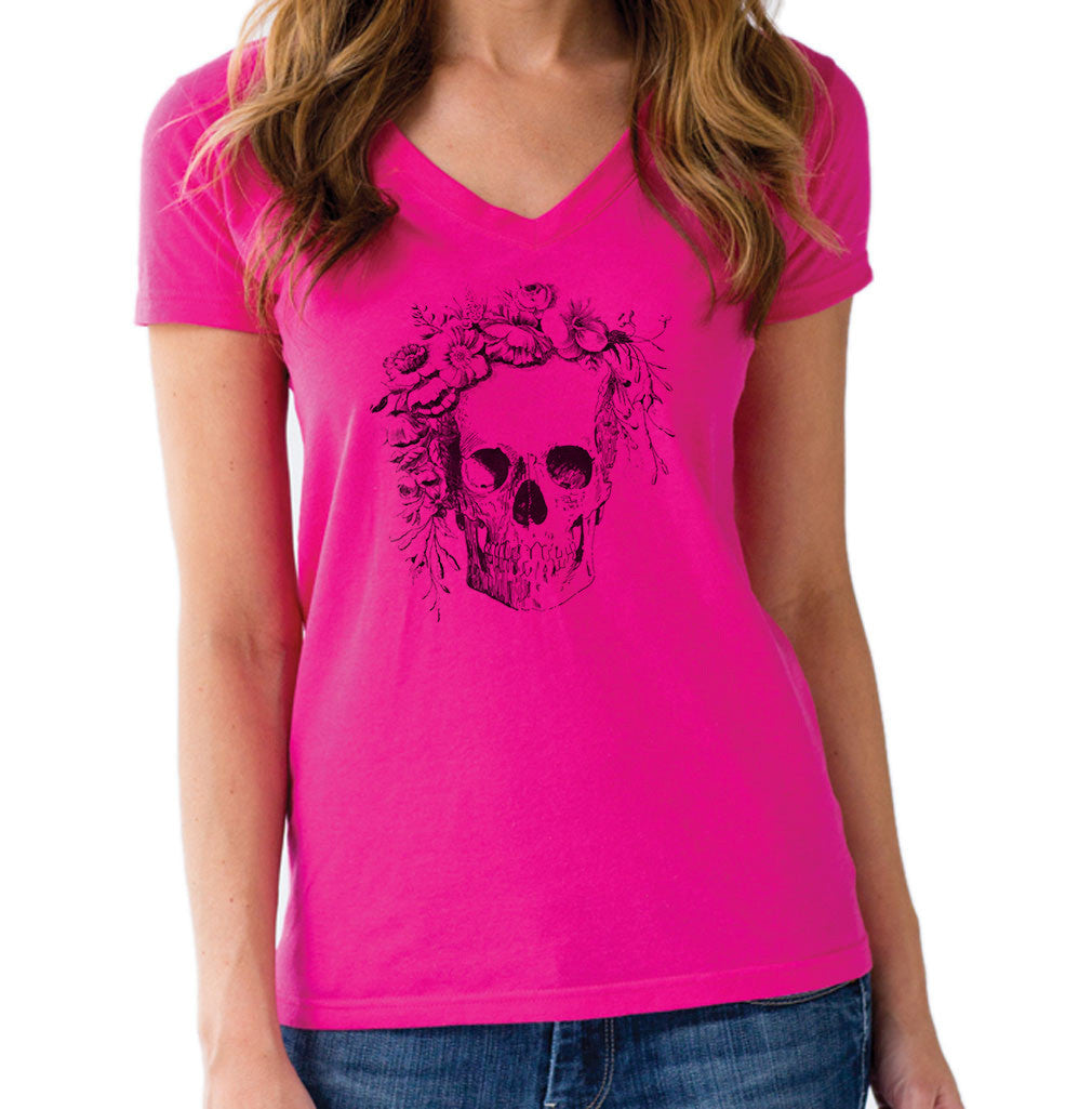 Women's Floral Skull Vneck T-Shirt - Juniors Fit