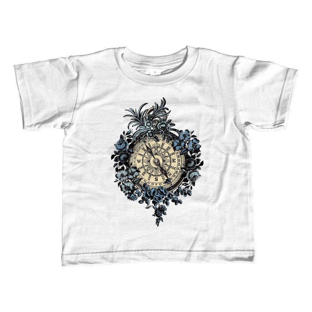 Girl's Floral Compass T-Shirt - Unisex Fit Tattoo Vintage Steampunk Nautical