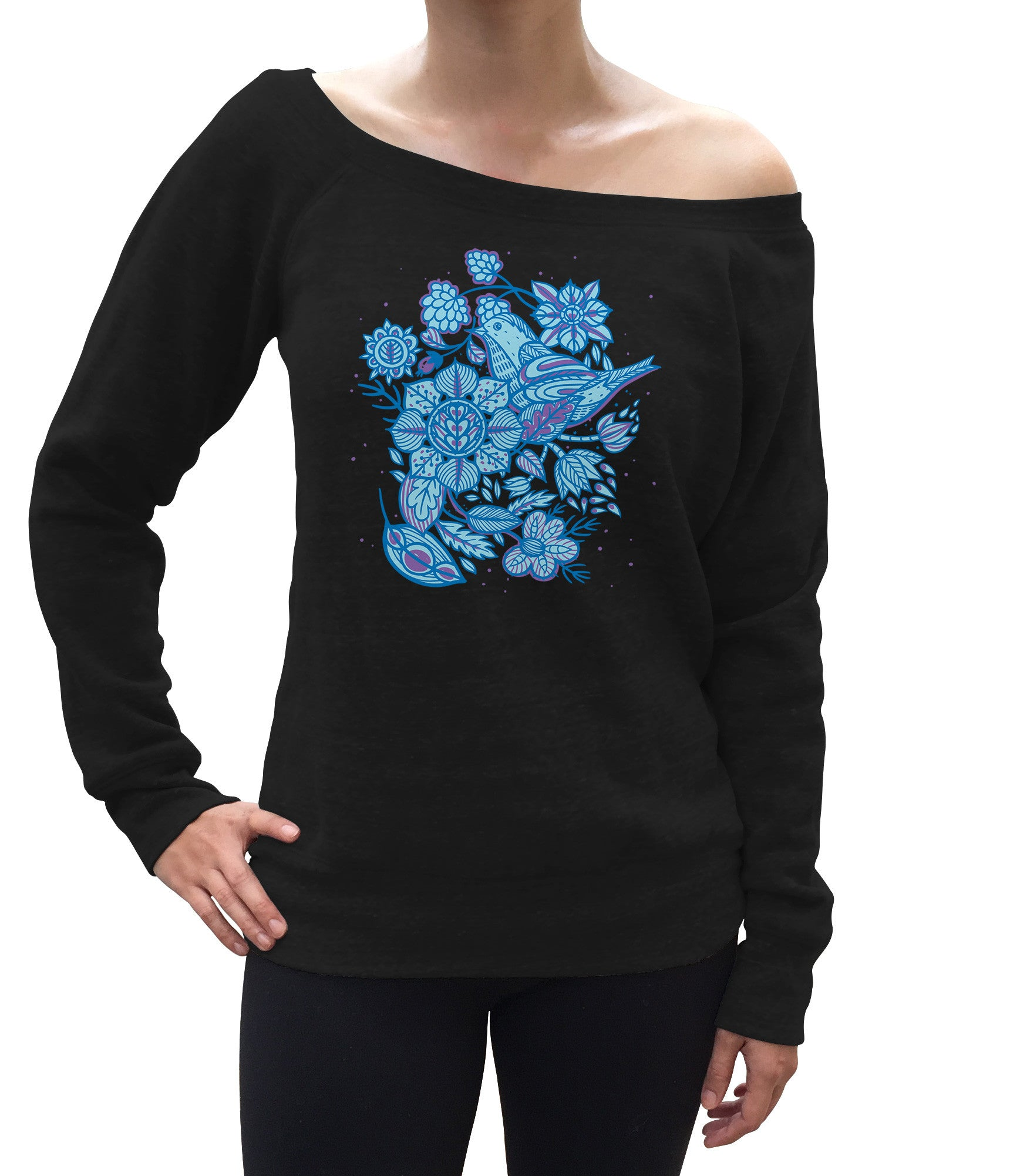 Women's Birds and Flowers Scoop Neck Fleece