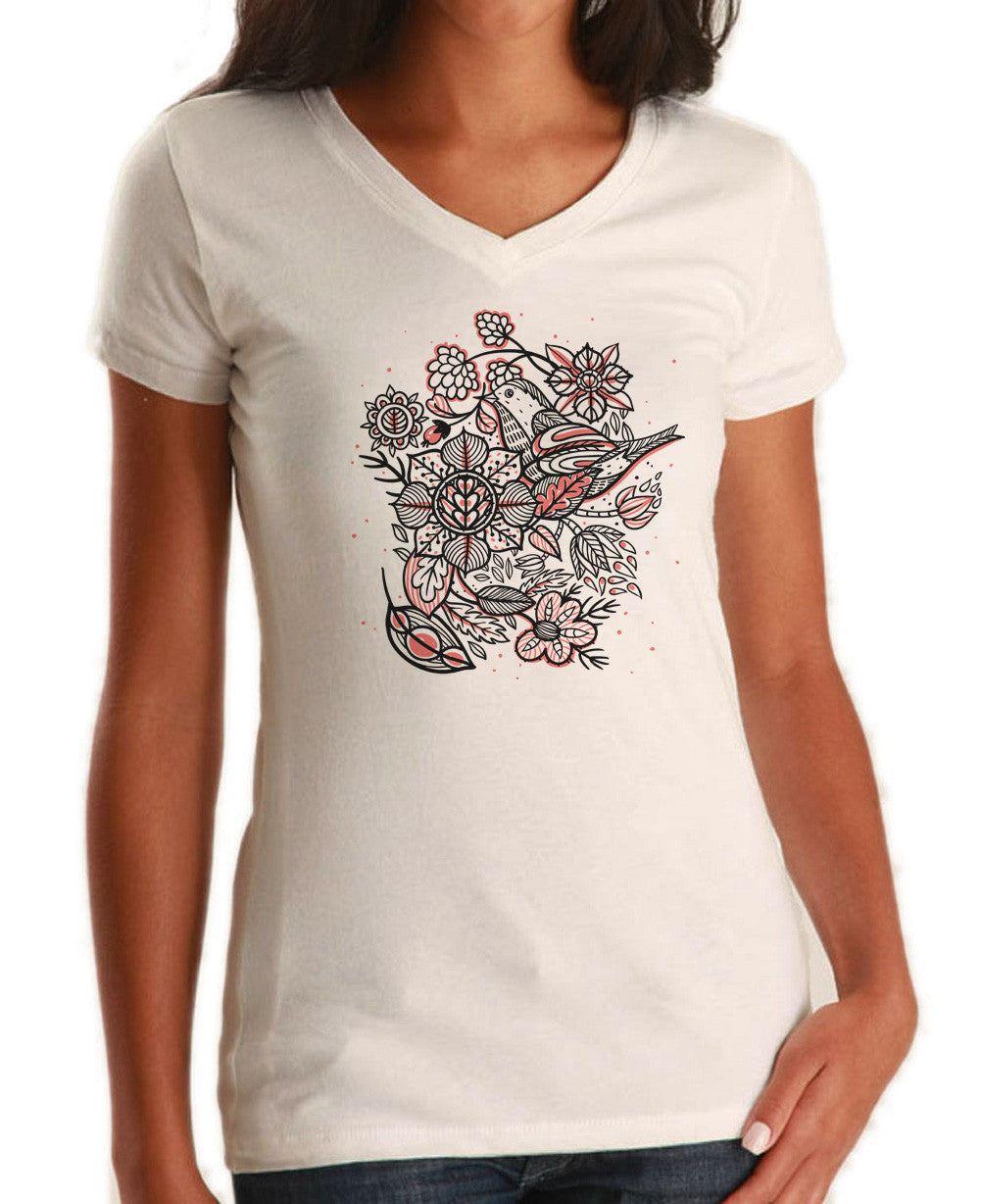 Women's Birds and Flowers Vneck T-Shirt - Juniors Fit