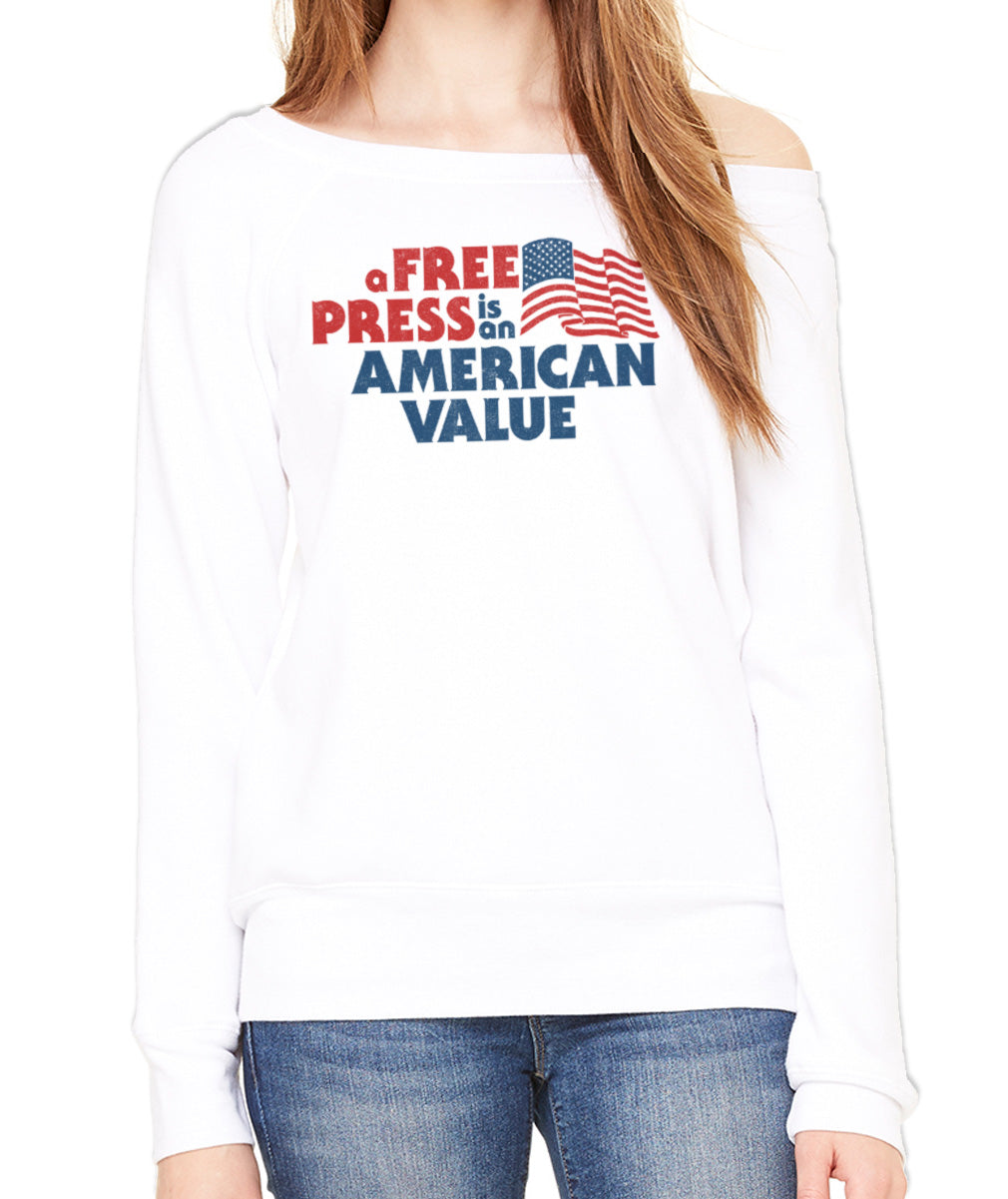Women's A Free Press is an American Value Scoop Neck Fleece