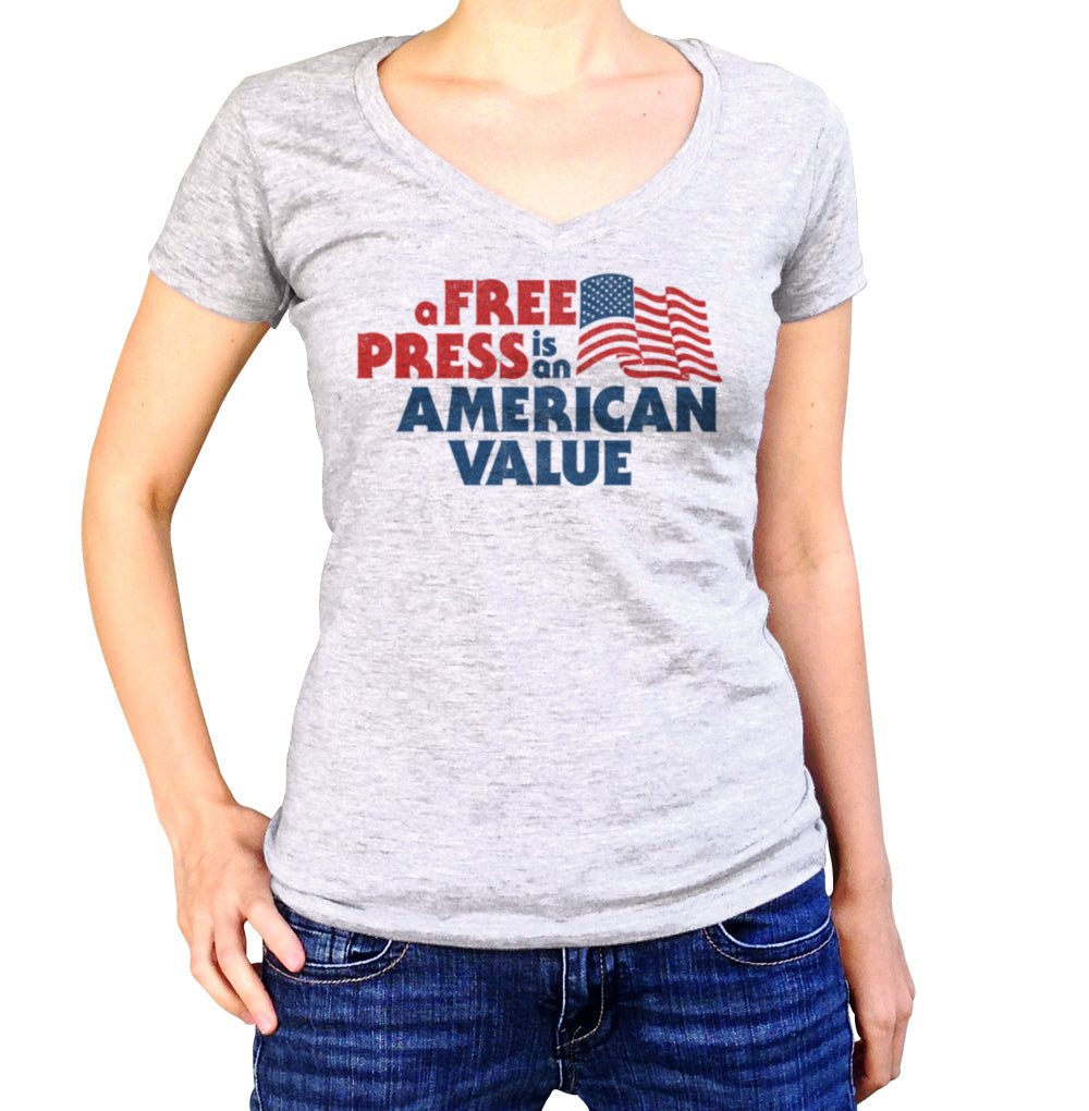 Women's A Free Press is an American Value Vneck T-Shirt