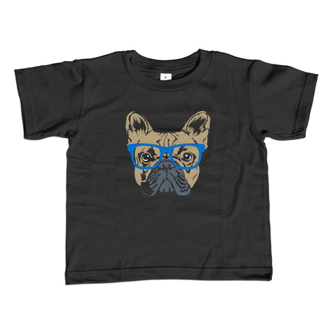 Girl's Glasses on a French Bulldog T-Shirt - Unisex Fit Hipster Frenchie