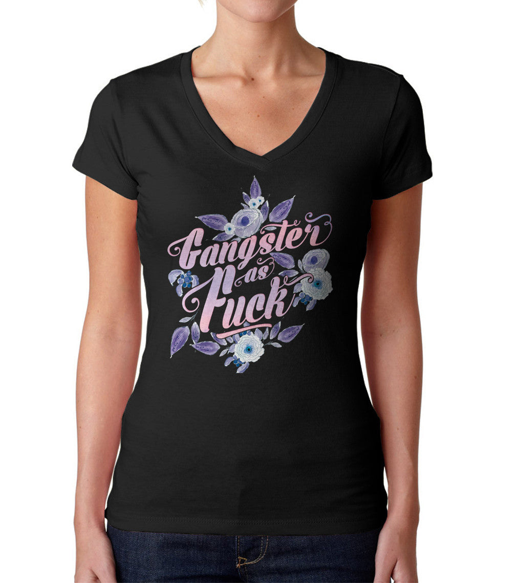 ee5418127 Women's Gangster As Fuck Vneck T-Shirt - Ironic Funny Floral Boho Chic