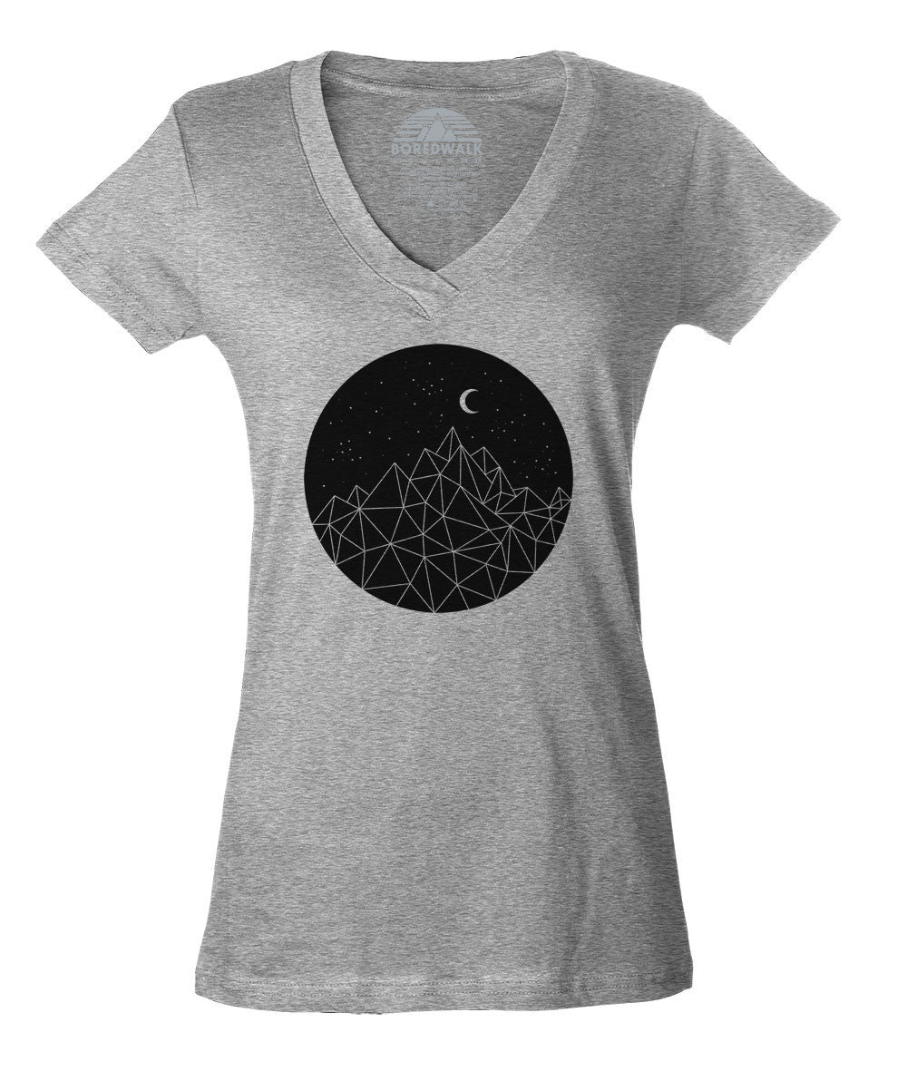 Women's Geometric Night Vneck T-Shirt
