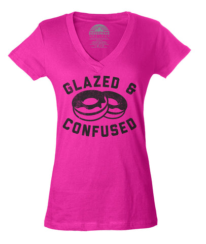 Women's Glazed and Confused Donut Vneck T-Shirt