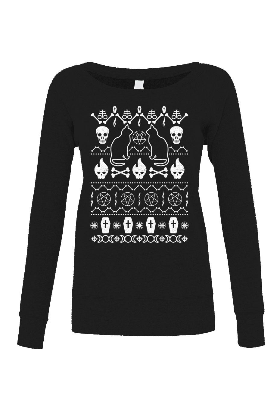 Women's Goth Ugly Christmas Sweater Scoop Neck Fleece - Ugly Holiday Sweater
