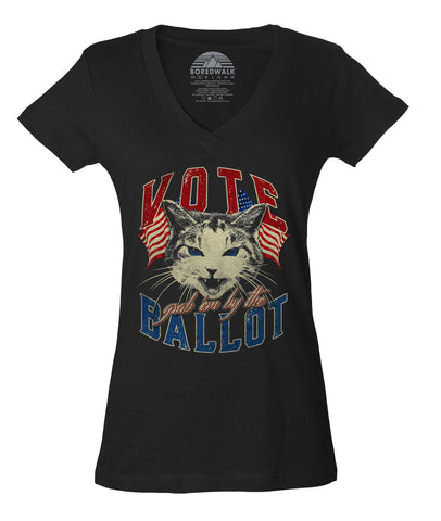 Women's Vote! Grab Em By The Ballot Cat Vneck T-Shirt - Election Shirt