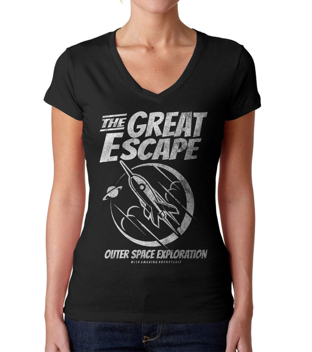 Women's The Great Escape Space Exploration Vneck T-Shirt Astronomy TShirt