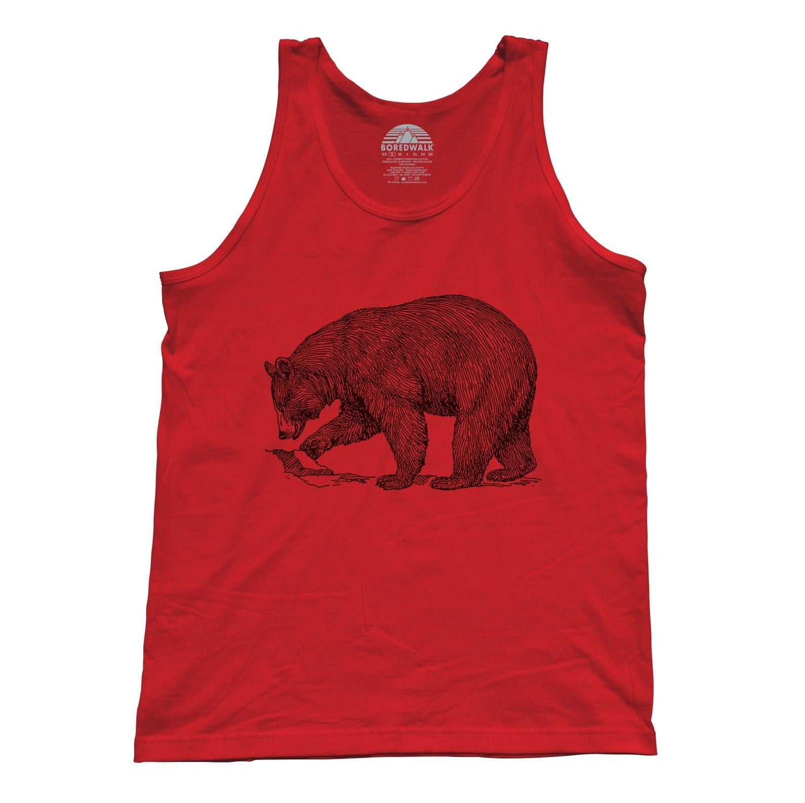 Unisex Bear Tank Top Vintage Illustration