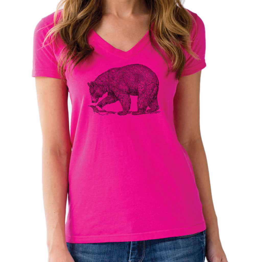 Women's Bear Vneck T-Shirt Vintage Illustration