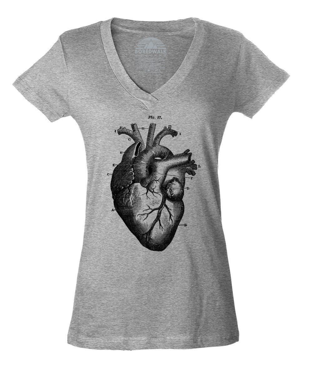 Women's Heart Anatomy Diagram Vneck T-Shirt