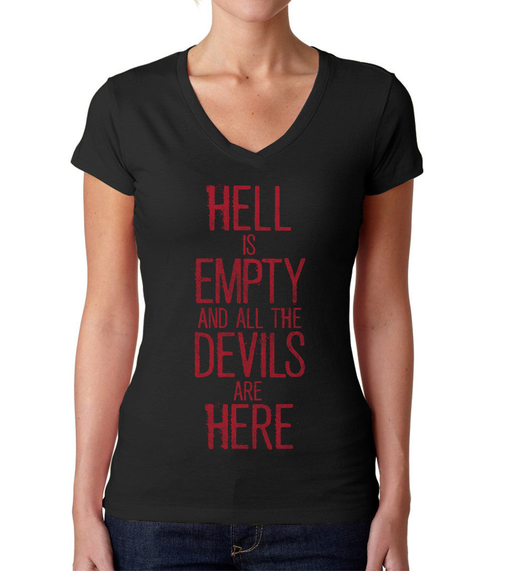 Women's Hell is Empty and All the Devils are Here Shakespeare Vneck T-Shirt