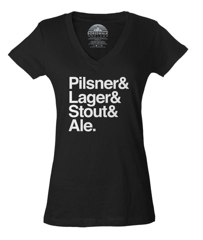 Women's Lager And Stout And Pilsner And Ale Beer Vneck T-Shirt