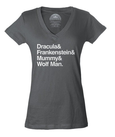 Women's Dracula and Frankenstein and Mummy and Wolf Man Vneck T-Shirt