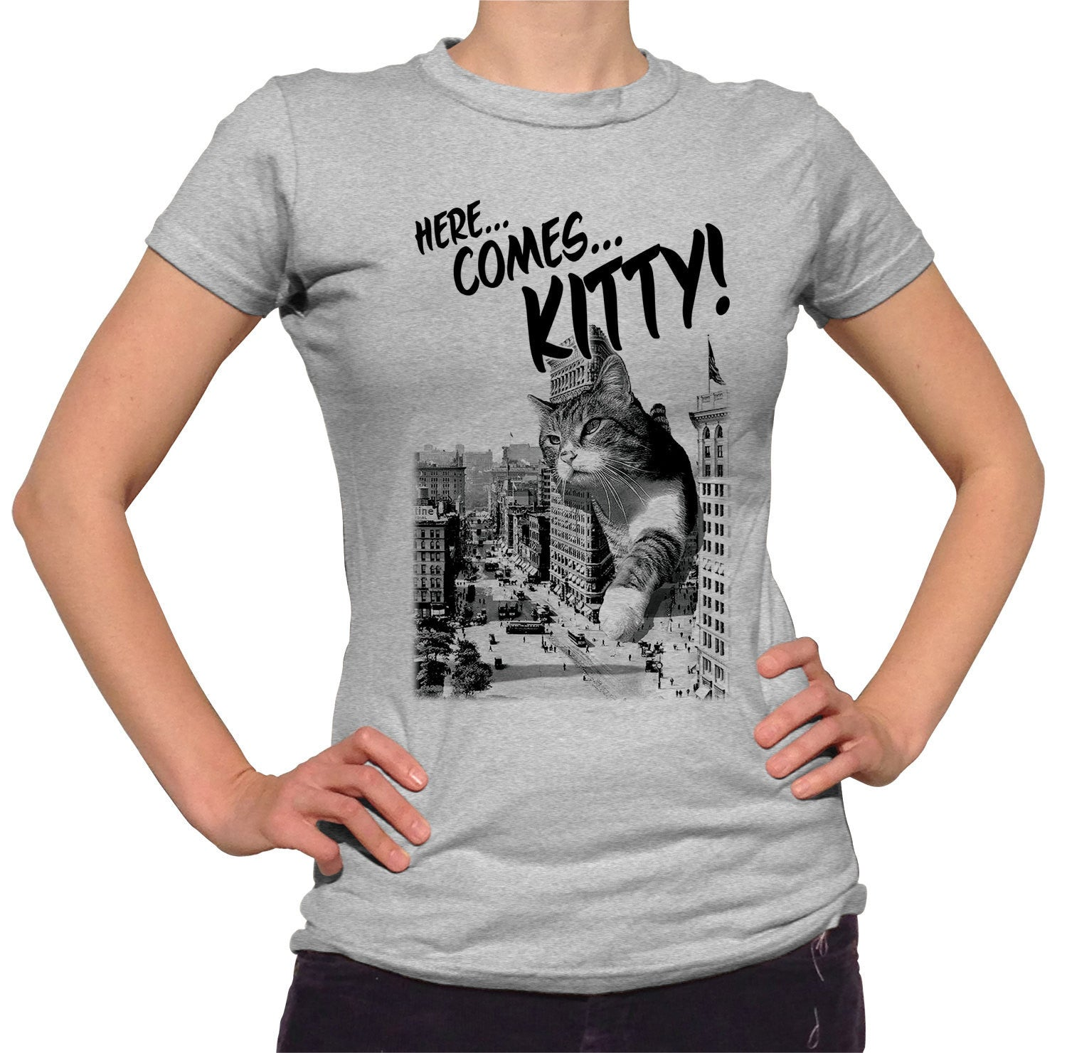 Women's Here Comes Kitty T-Shirt Funny Giant Cat TShirt