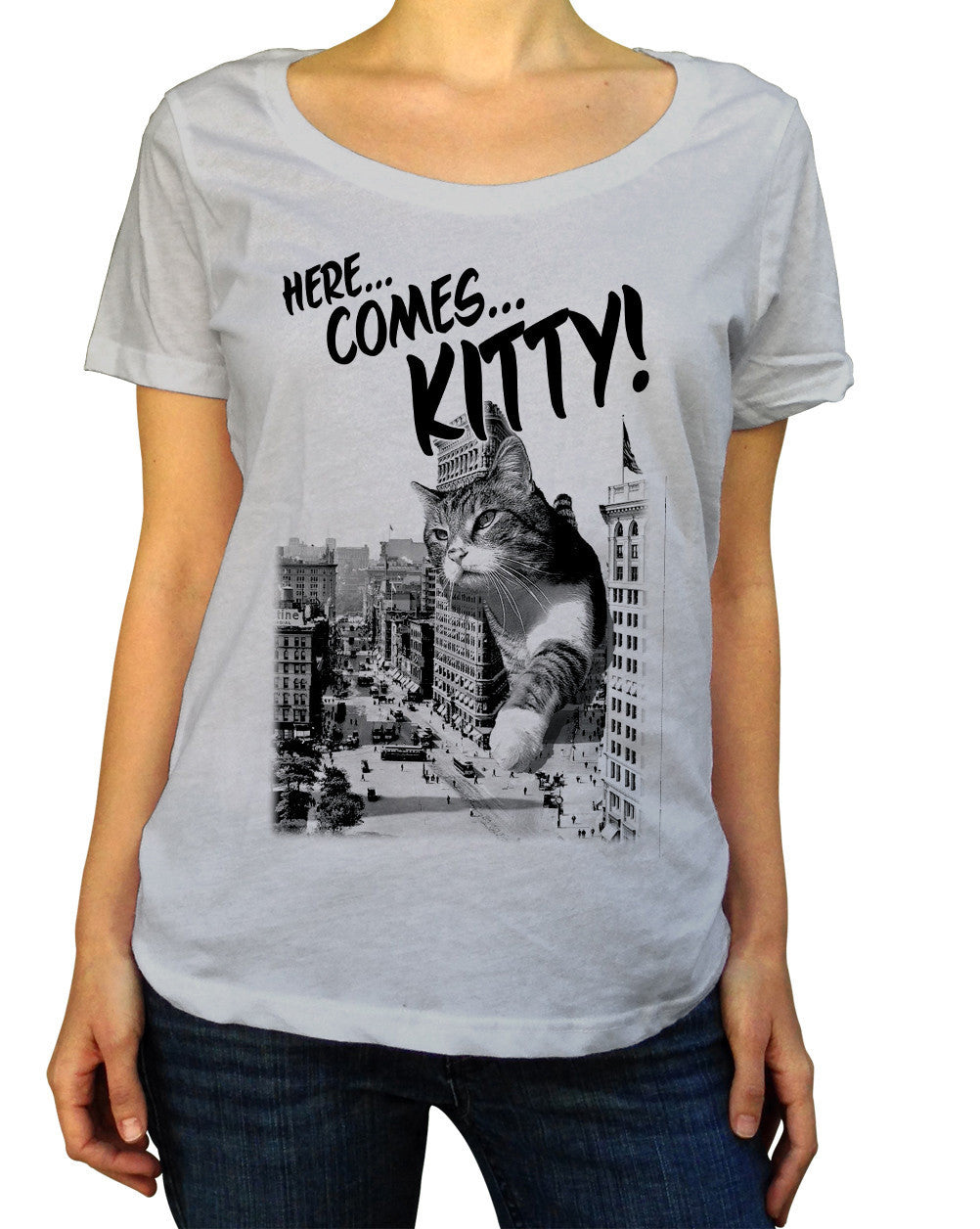 Women's Here Comes Kitty Scoop Neck Shirt Funny Giant Cat TShirt
