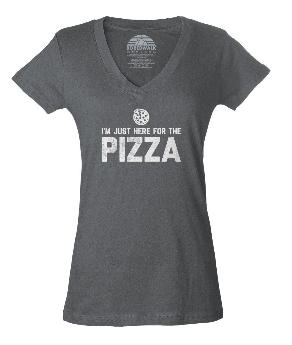 Women's I'm Just Here for the Pizza Vneck T-Shirt - Hipster Funny Foodie