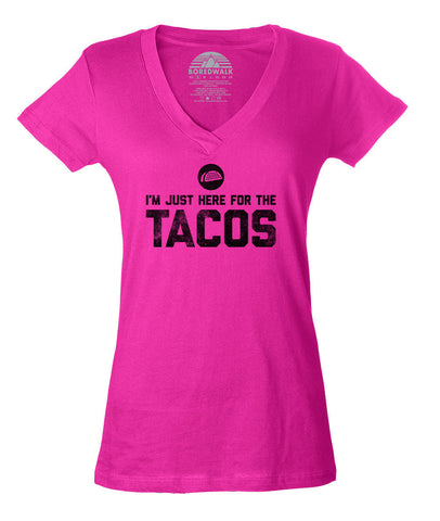 Women's I'm Just Here for the Tacos Vneck T-Shirt - Funny Foodie