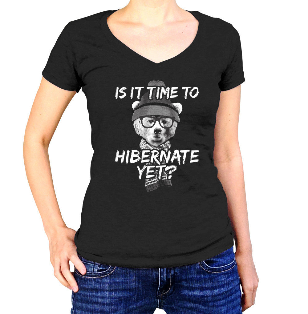 Women's Is It Time To Hibernate Yet Bear Vneck T-Shirt