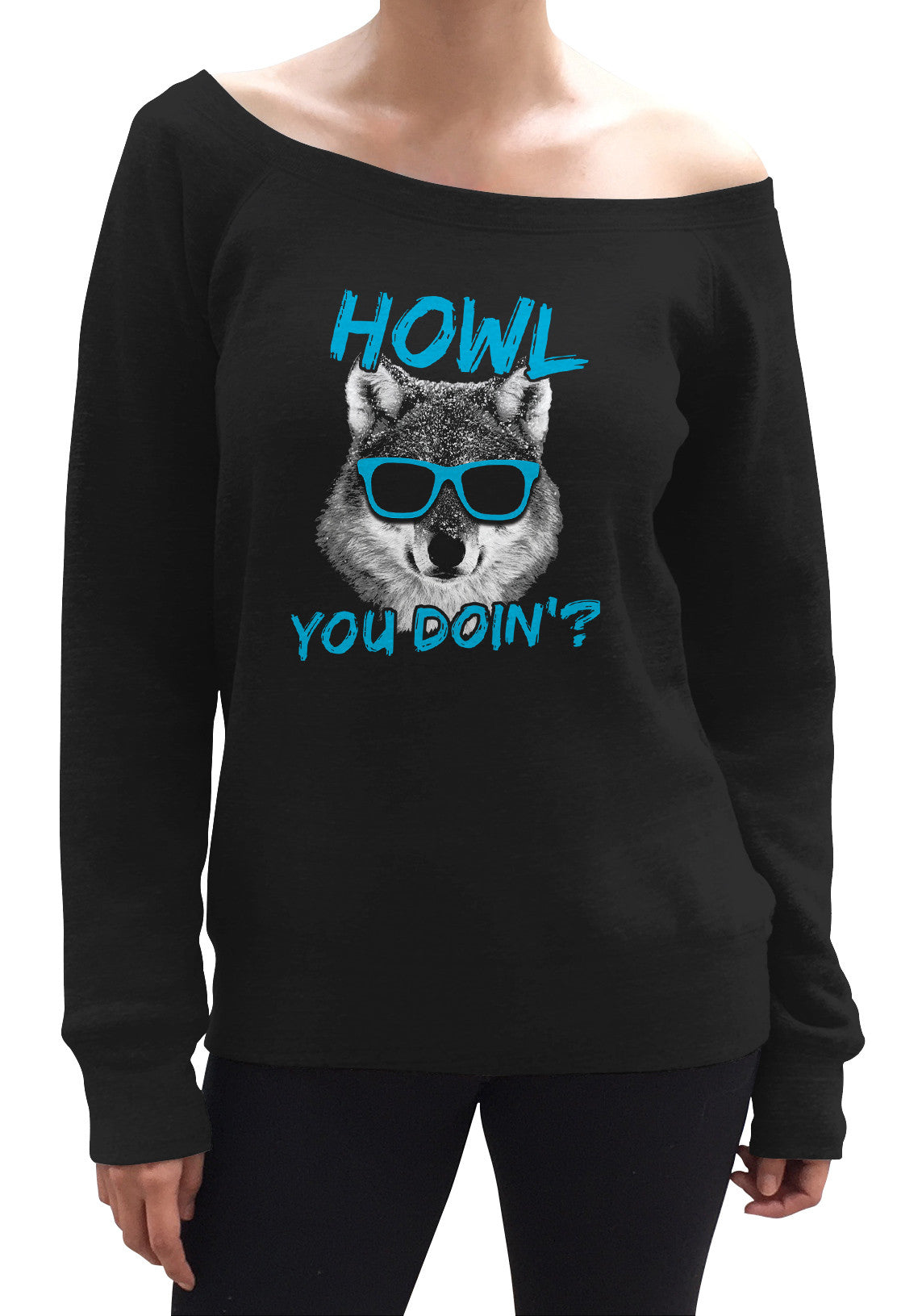 Women's Howl You Doin Funny Wolf Scoop Neck Fleece
