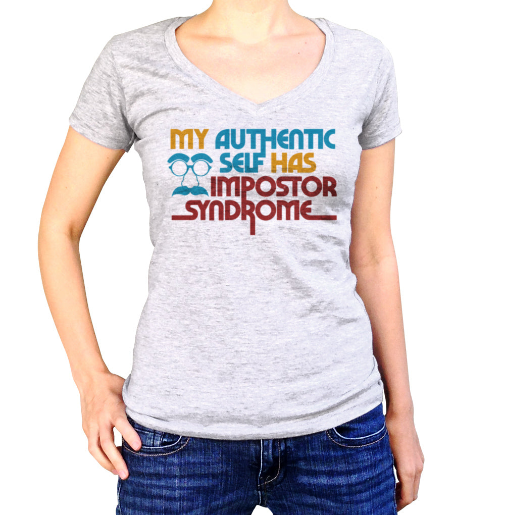 Women's My Authentic Self Has Impostor Syndrome Vneck T-Shirt