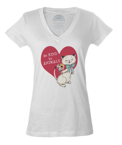 Women's Be Kind To Animals Vneck T-Shirt - Juniors Fit