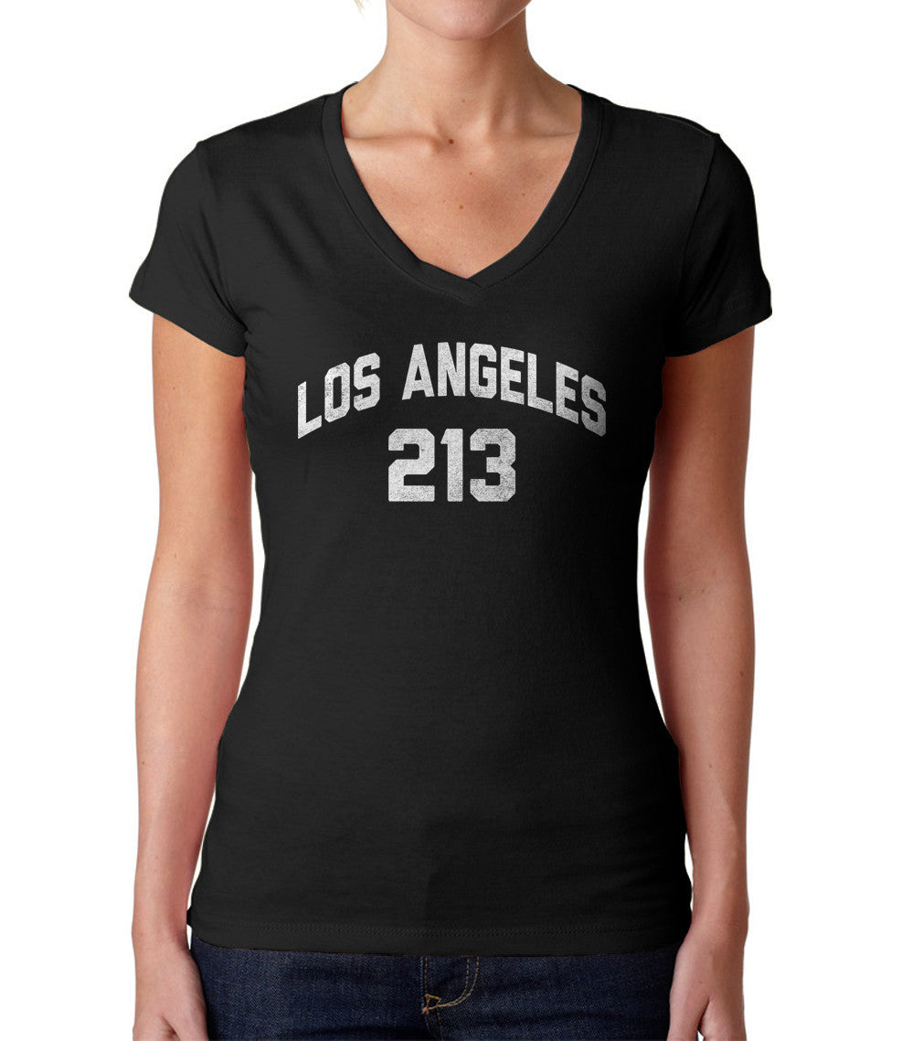 Women's Los Angeles 213 Area Code Vneck T-Shirt