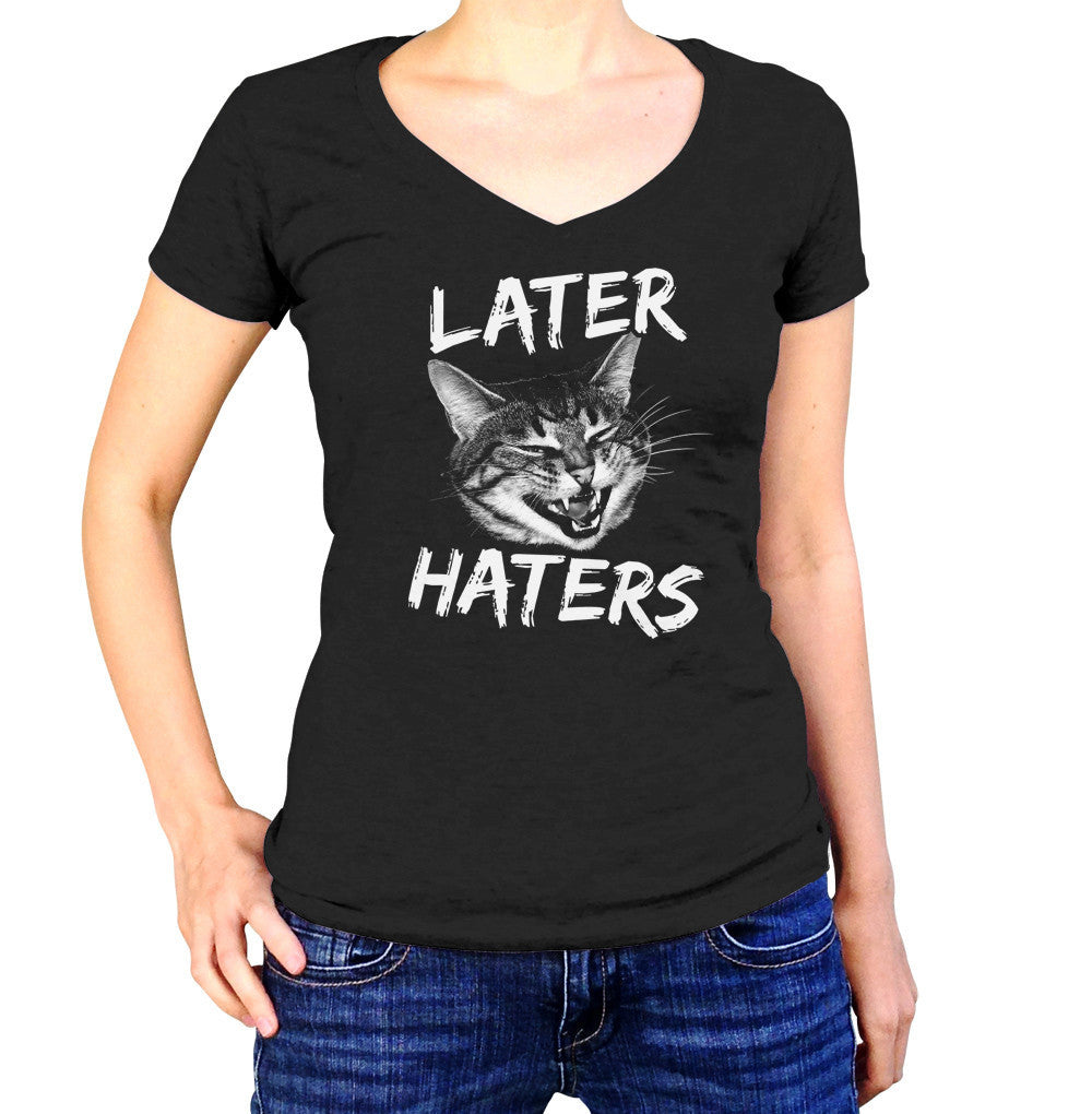 Women's Later Haters Vneck T-Shirt - Juniors Fit Funny Cat TShirt