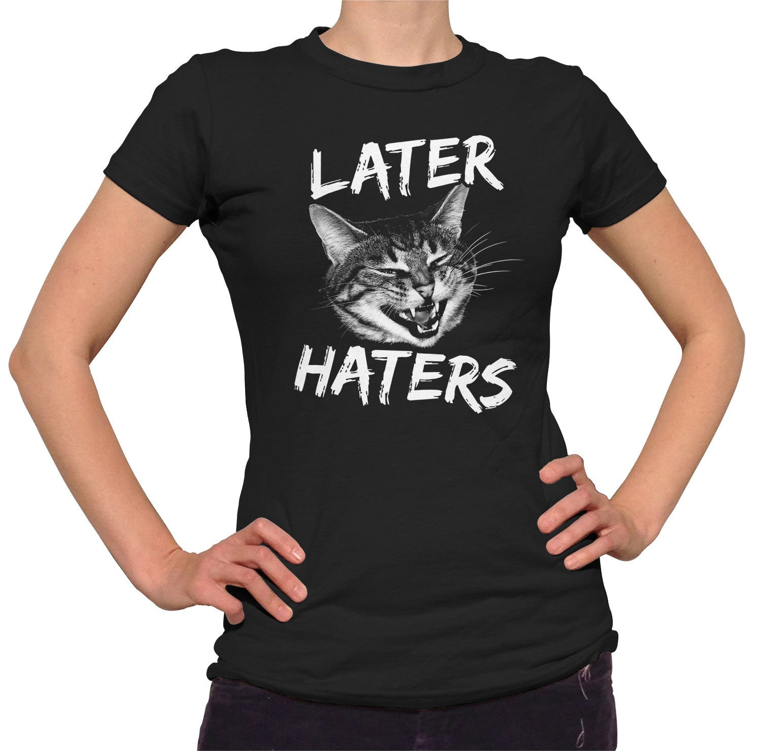 Women's Later Haters T-Shirt Funny Cat TShirt