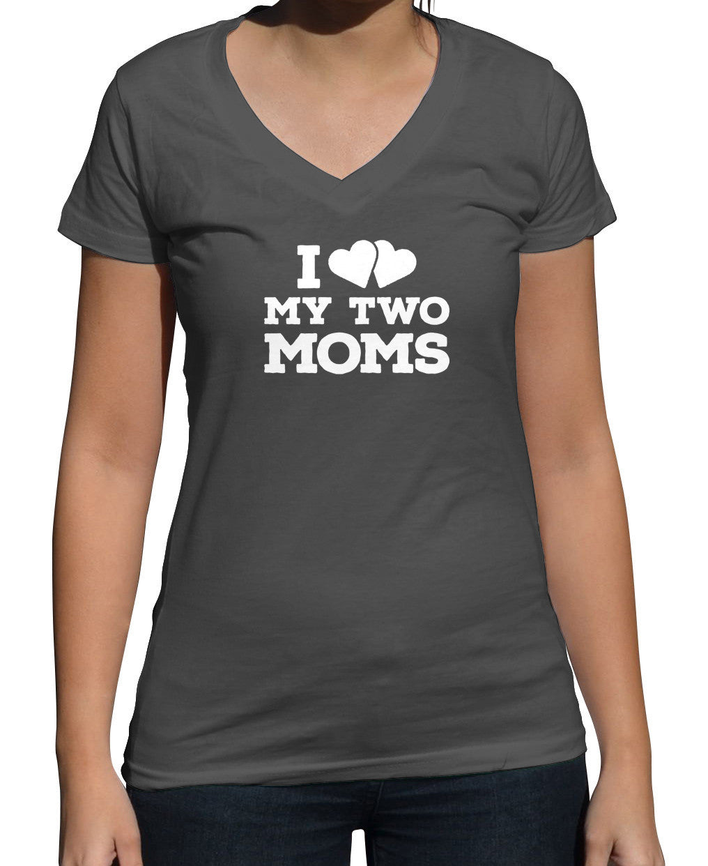 Women's I Love My Two Moms Vneck T-Shirt - Juniors Fit