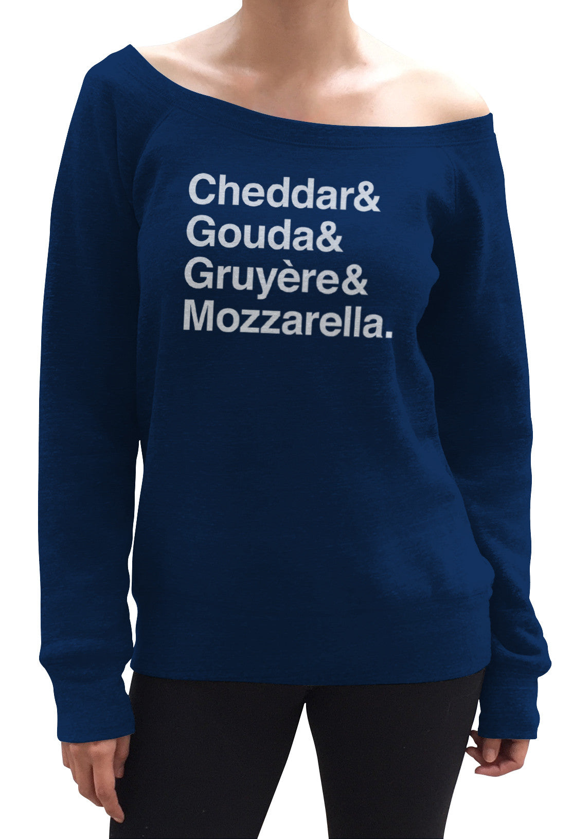 Women's I Love Cheese Scoop Neck Fleece - Cheddar Gouda Gruyere Mozzarella