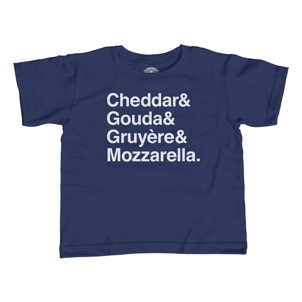Boy's I Love Cheese T-Shirt - Cheddar Gouda Gruyere Mozzarella