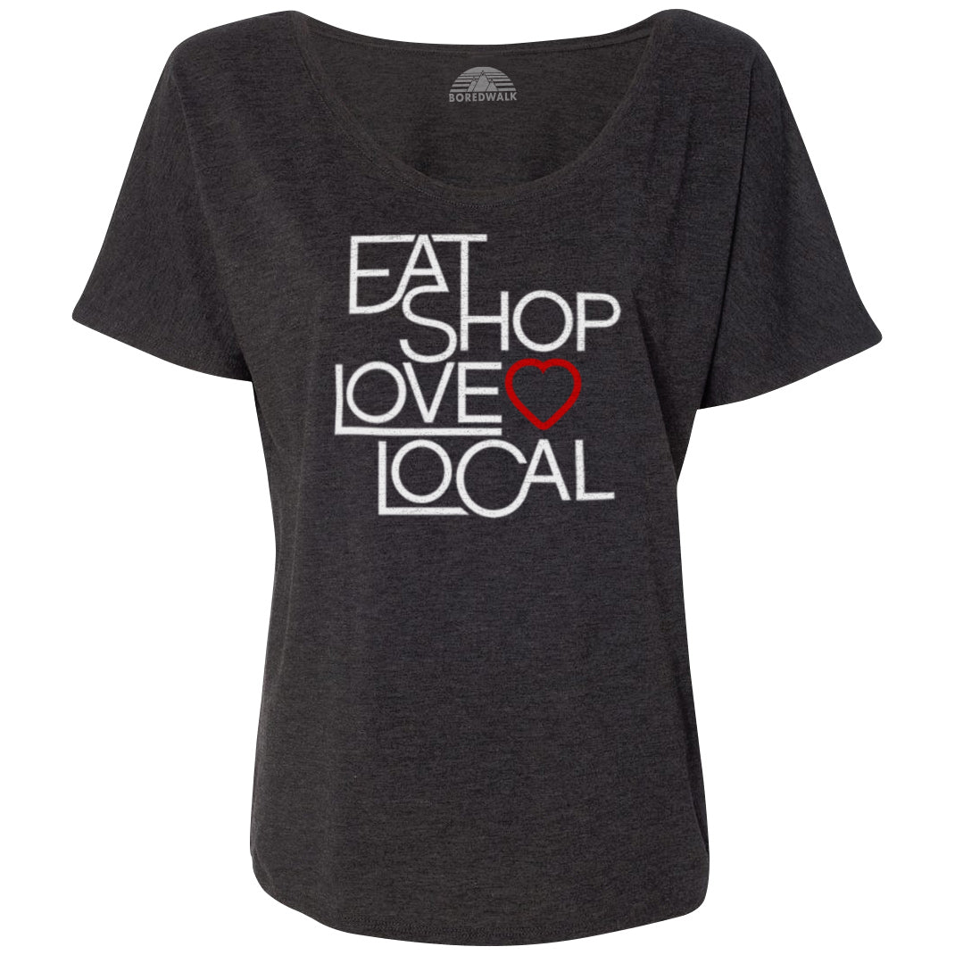 Women's Love Shop Eat Local Scoop Neck T-Shirt