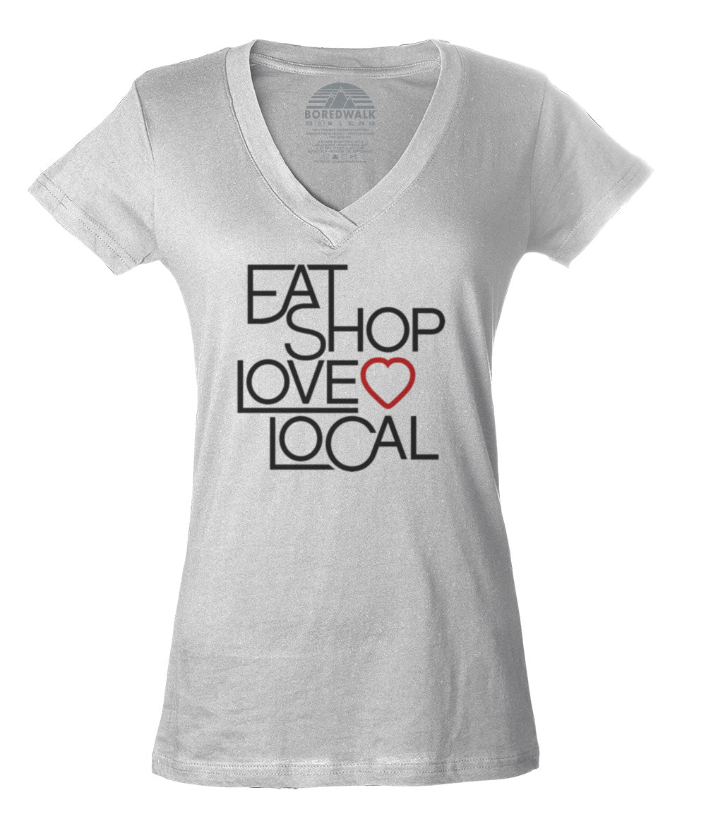 Women's Love Shop Eat Local Vneck T-Shirt