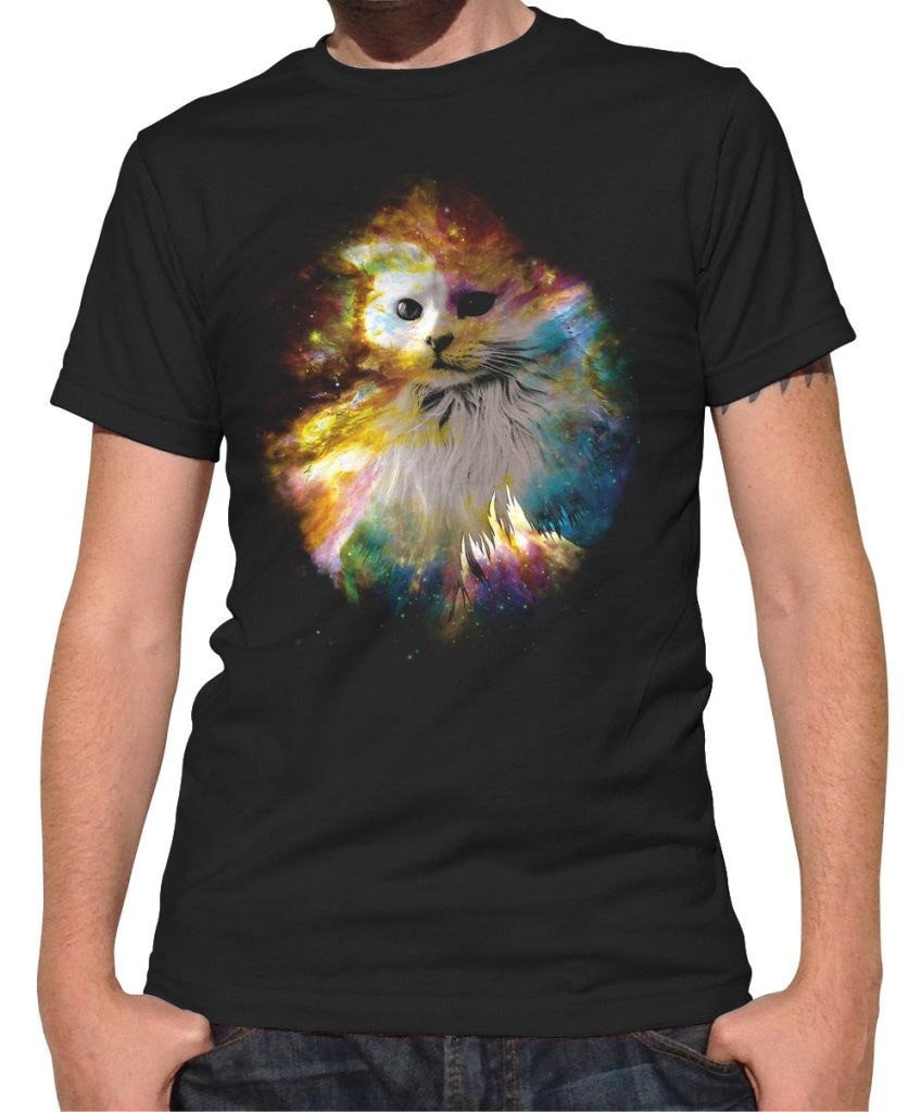 Men's Cat In Space T-Shirt Cool Cat T-Shirt